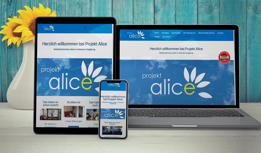 Homepage Projekt Alice