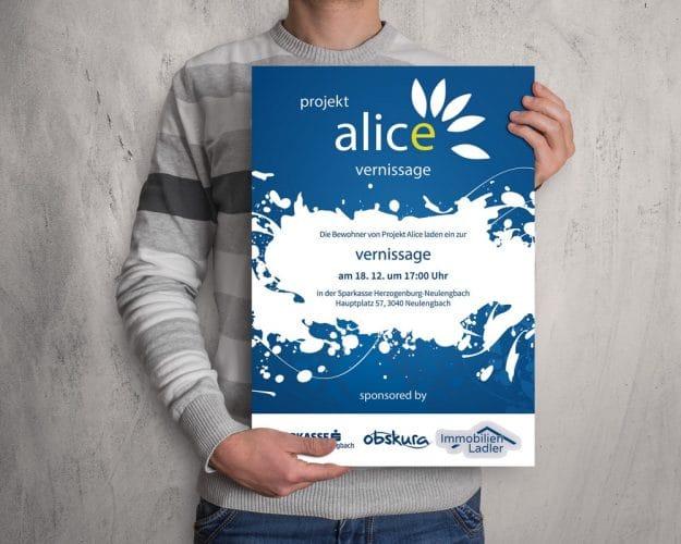 Plakat Vernissage Projekt Alice