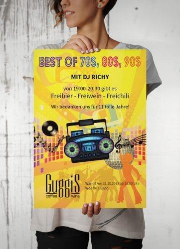 Plakat Retro-Party im GuggiS