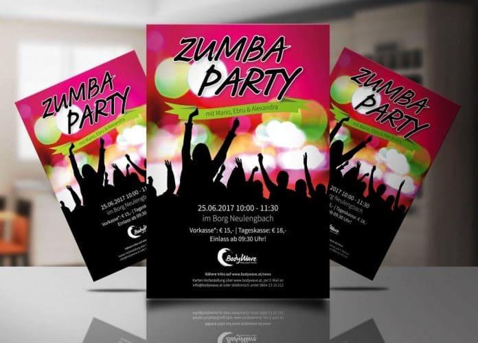 Plakat Zumbaparty von BodyWave